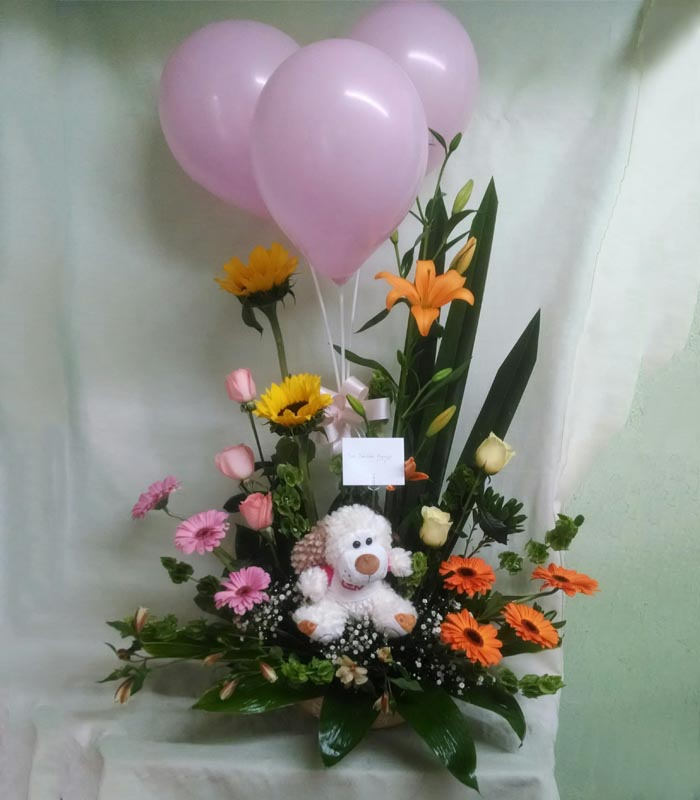 Arreglo De Flores Con Gerberas Lilies Y Girasoles