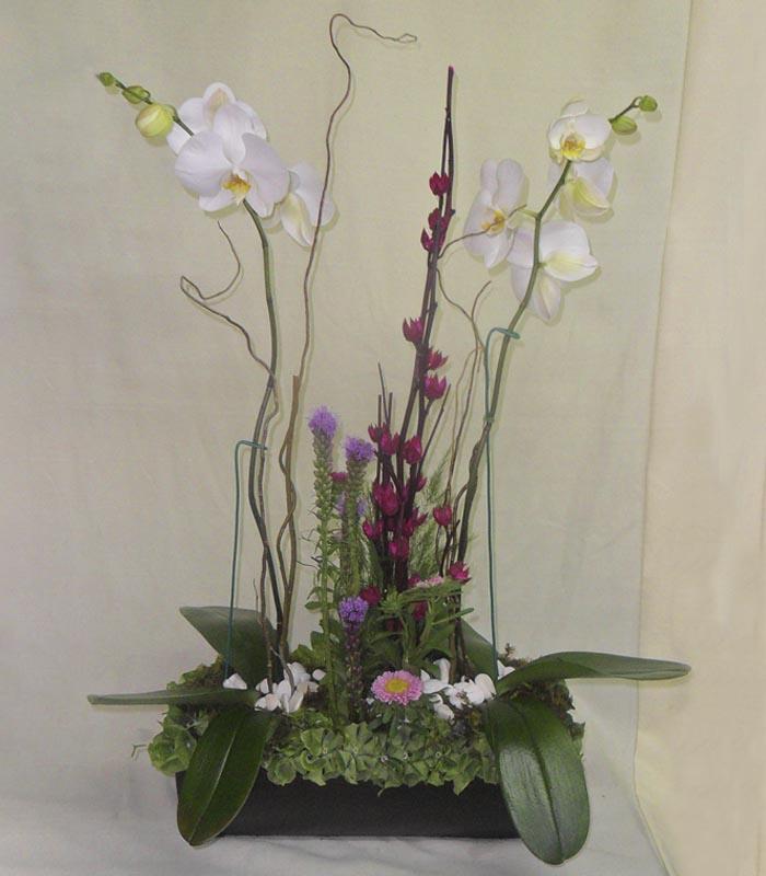 Arreglo Floral Orquídea Rosa Y Flor De Jamaica